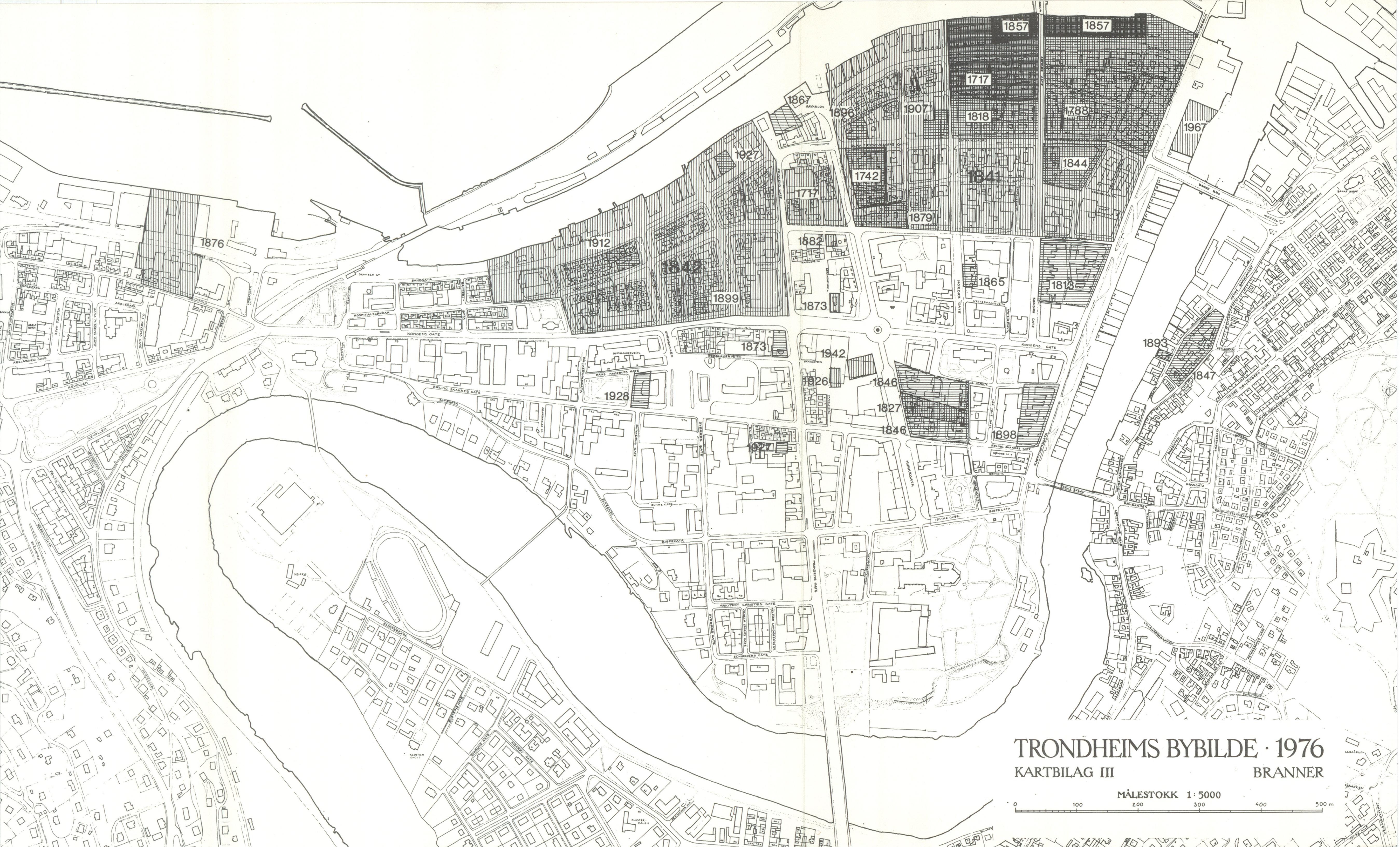 1818 kart File:Kart over bybranner fram til 1976   Trondheims bybilde (1976  1818 kart
