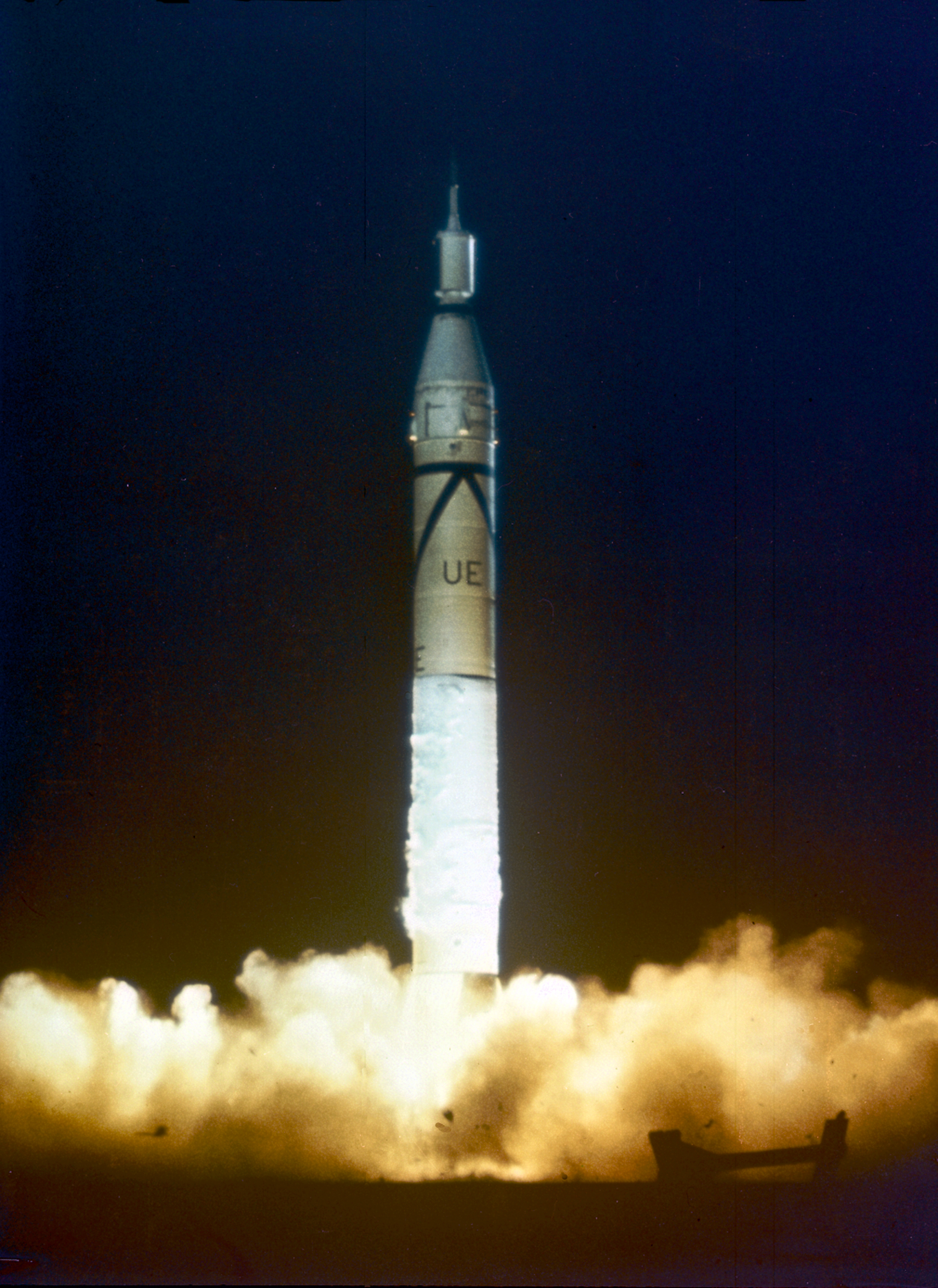 Explorer1 http://en.wikipedia.org/wiki/File:Launch_of_Jupiter_C_with_Explorer_1.jpg