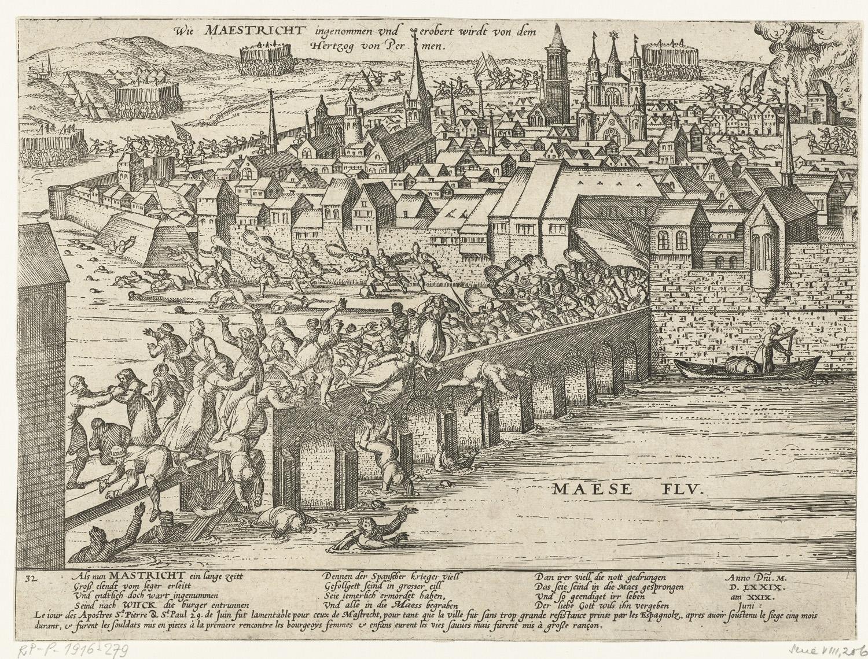 File:Maastricht ingenomen door Parma, 1579, Frans Hogenberg, 1579 - 1581.