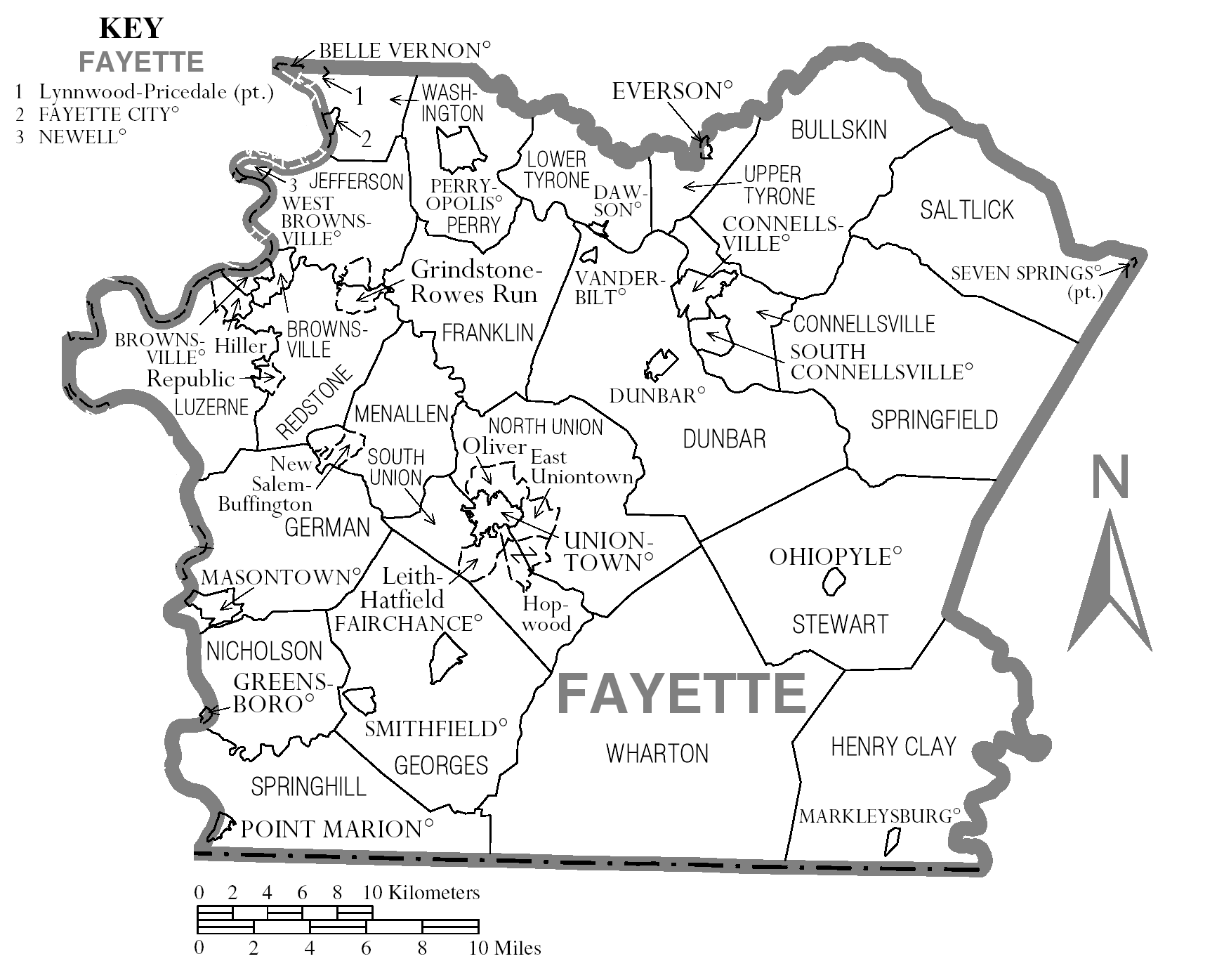 File:Map of Fayette County,fayette county