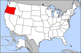 Mapa ning United States with Oregon highlighted