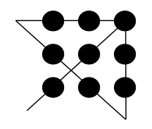 Solution to the Nine Dot problem.[9][pageneeded]