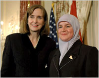 Paula Dobriansky, Under Secretary of State for Democracy and Global Affairs with Shatha Abdul Razzak Abbousi of Iraq March 7 2007 in Washington.jpg