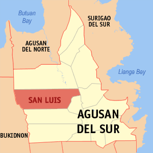Map of Agusan del Sur showing the location of San Luis