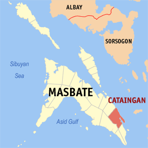 Map of Masbate showing the location of Cataingan