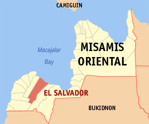 Map of Misamis Oriental showing the location of El Salvador