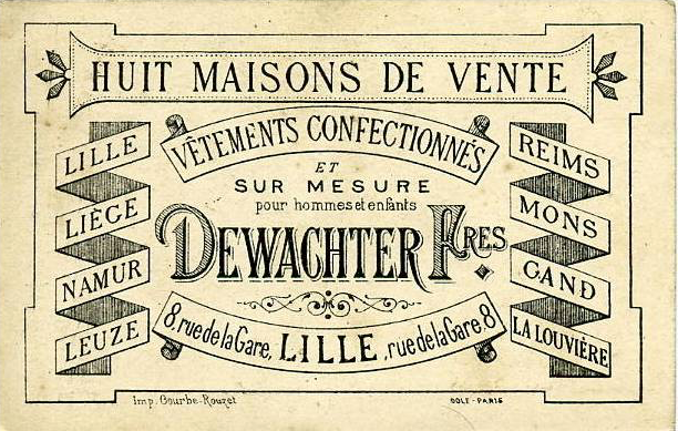 Post card ad listing eight cities and towns where Dewachter Frères offered