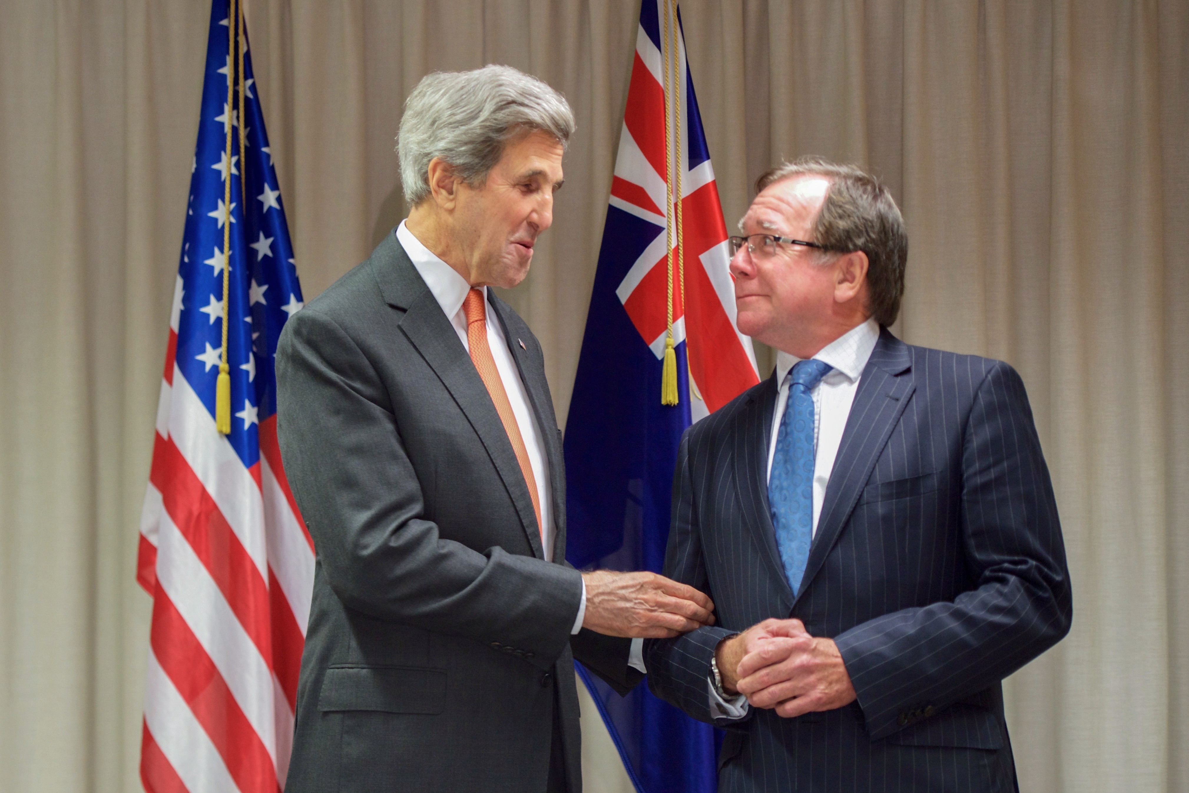 Minister McCully Before Their Meeting (30885256315).jpg U.S. Secretary of State John Kerry jokes with New Zealand Foreign Minister Murray McCully on November