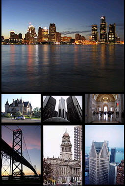 Top: International skyline. Middle: Woodward Avenue, Renaissance Center (General Motors World Headquarters), Lobby of the Detroit Institute of Arts Bottom: Ambassador Bridge, Old Wayne County Building, One Detroit Center