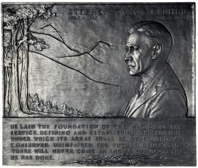 Mather Plaque in Yellowstone National Park