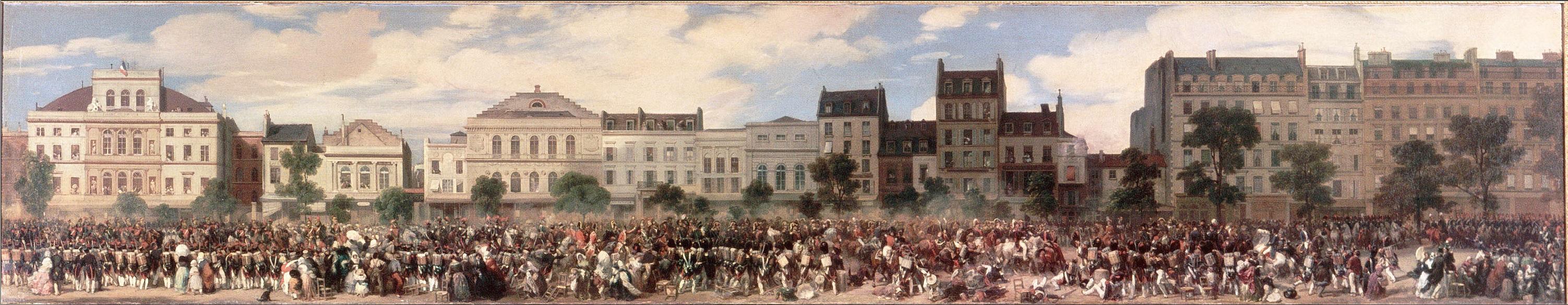 Attack of Fieschi, 28 July 1835. (By Eugène Lami, 1845. Versailles).