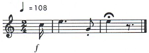 An image showing the music notation for the British Alarm