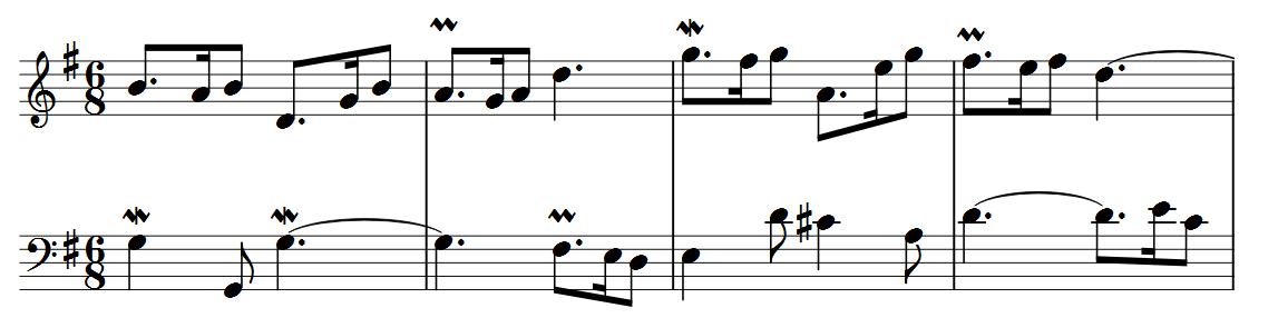 Primeiros 4 compassos da sétima variação.