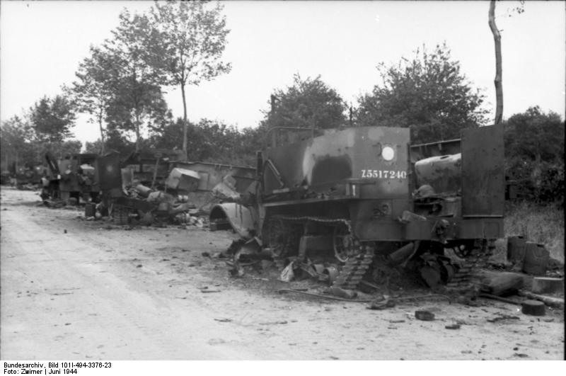 Destroyed M5 half-tracks