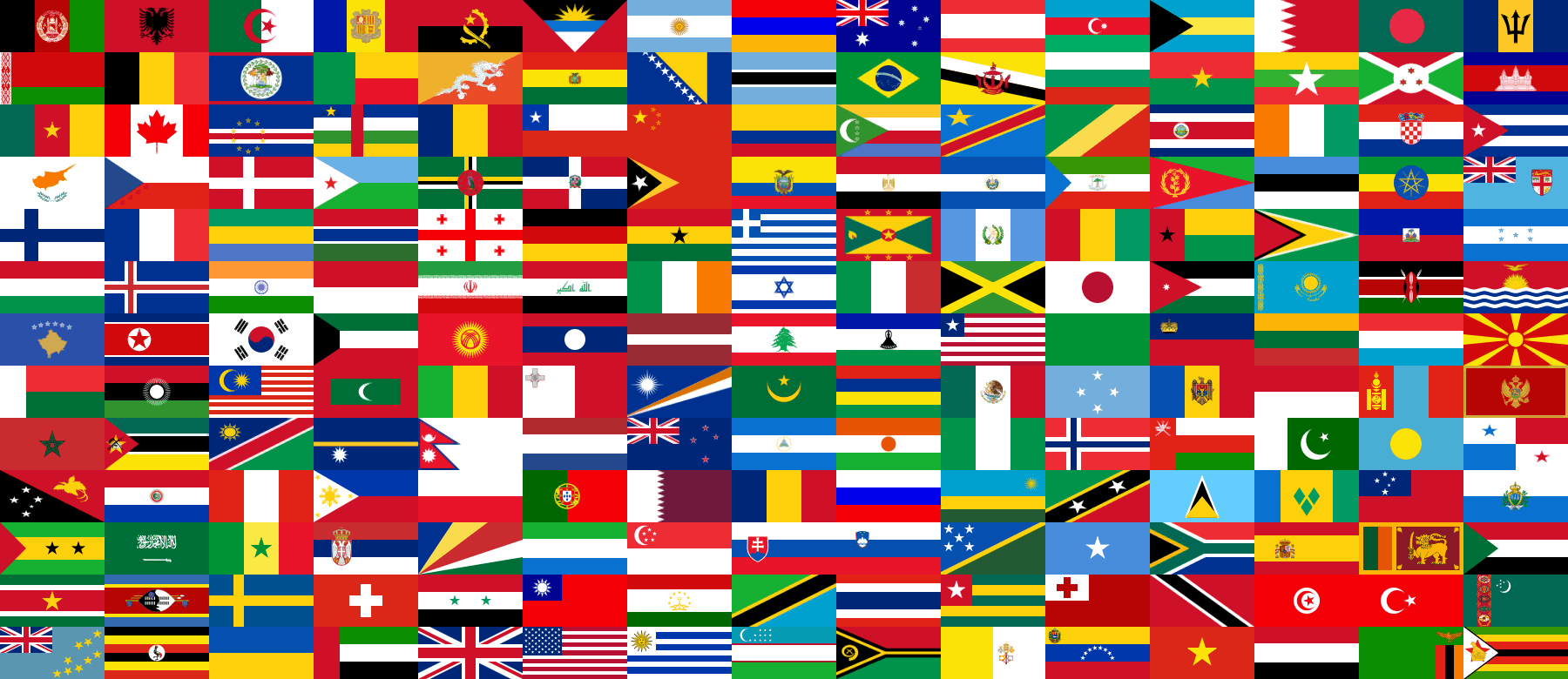 Description collection national flags