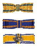 De drie lintjes van ridders in de Militaire Willems-Orde, de Orde van de Nederlandse Leeuw en de Orde van Oranje-Nassau.jpg