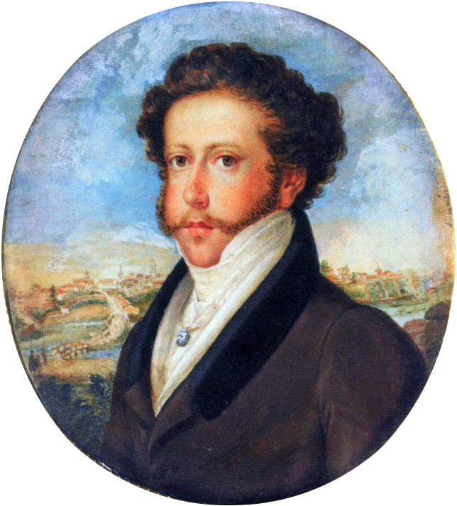 Painted head and shoulders portrait showing a young man with curly hair and mustachios who is wearing a formal black coat, high collar and cravat with a city scene in the distant background