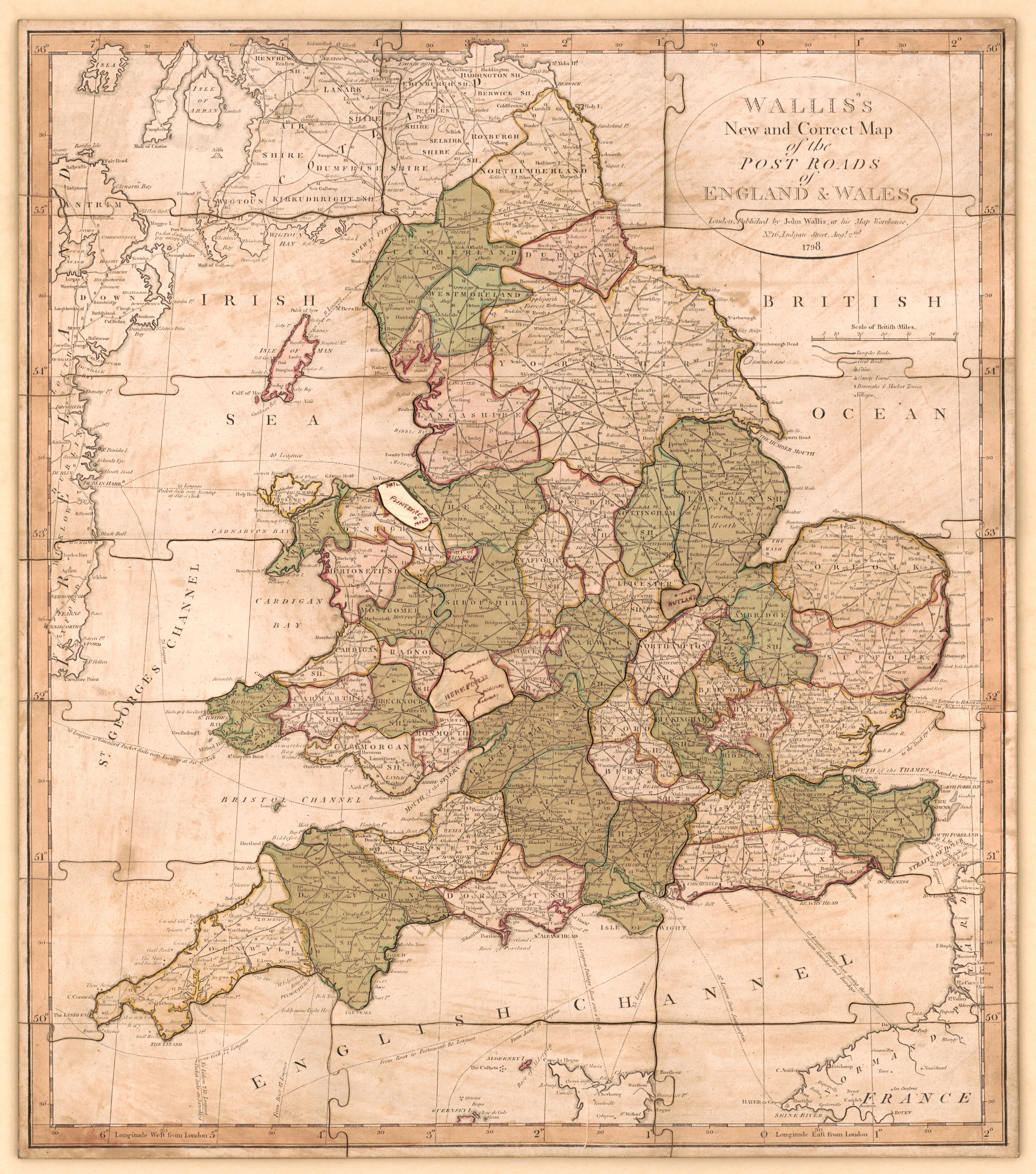 Map Of England Counties And Towns.File England And Wales With The Principal Roads And Distances Of
