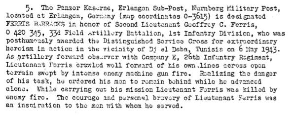 Excerpt of General Order 41, dated 11 May 1949, renaming Panzer Kaserne in Erlangen to Ferris Barracks.