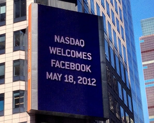 Billboard on the Thomson Reuters building welcomes Facebook to NASDAQ, 2012