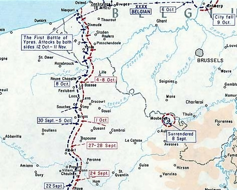 Primera batalla de Ypres First_Battle_of_Ypres_-_Map