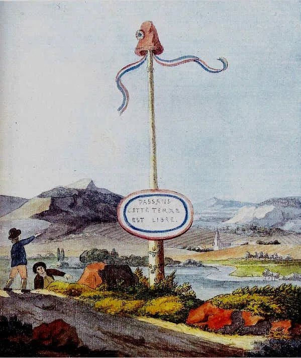 A Goethe watercolour depicting a liberty pole at the border to the short-lived Republic of Mainz, created under influence of the French Revolution and destroyed in the Siege of Mainz in which Goethe participated Freiheitsbaum.jpg