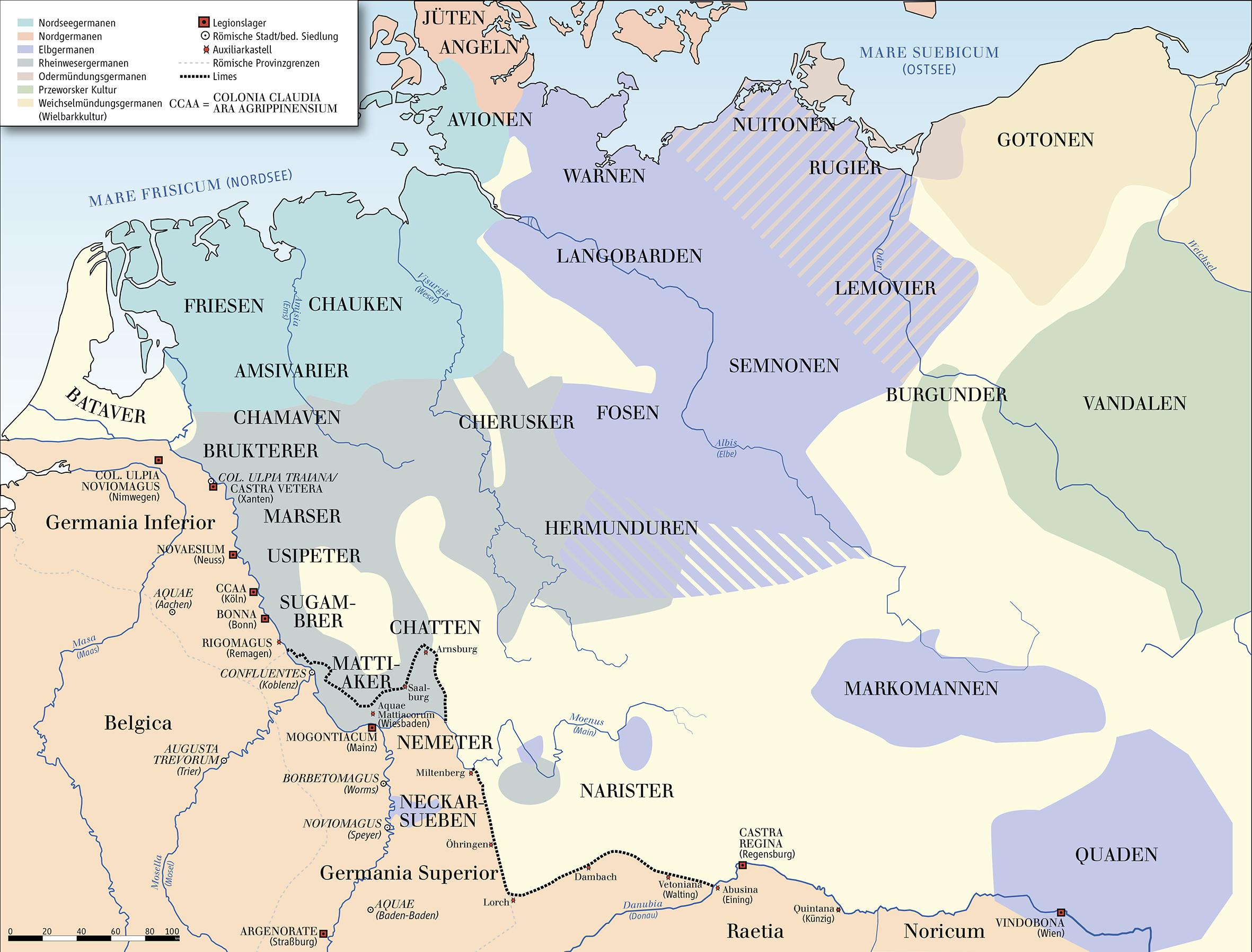 Karte der germanischen Stämme zwischen 50 und 100 n.Chr.