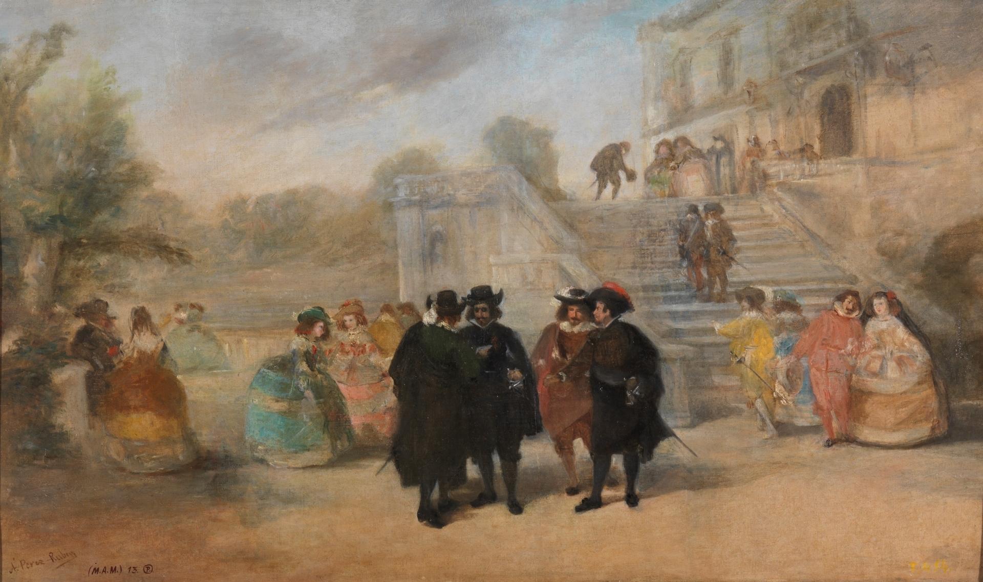 Intriga contra don F.º de Quevedo en los jardines del Palacio del Buen Retiro (c. 1876) por Antonio Pérez Rubio. Óleo sobre lienzo, Museo del Prado