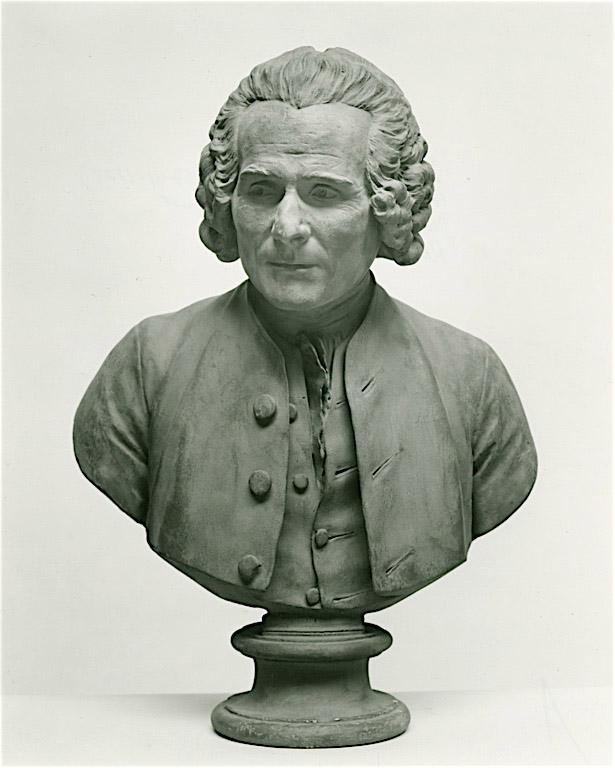 Photo of statue/bust of Jean-Jacques Rousseau, used from Wikimedia Commons (public domain)
