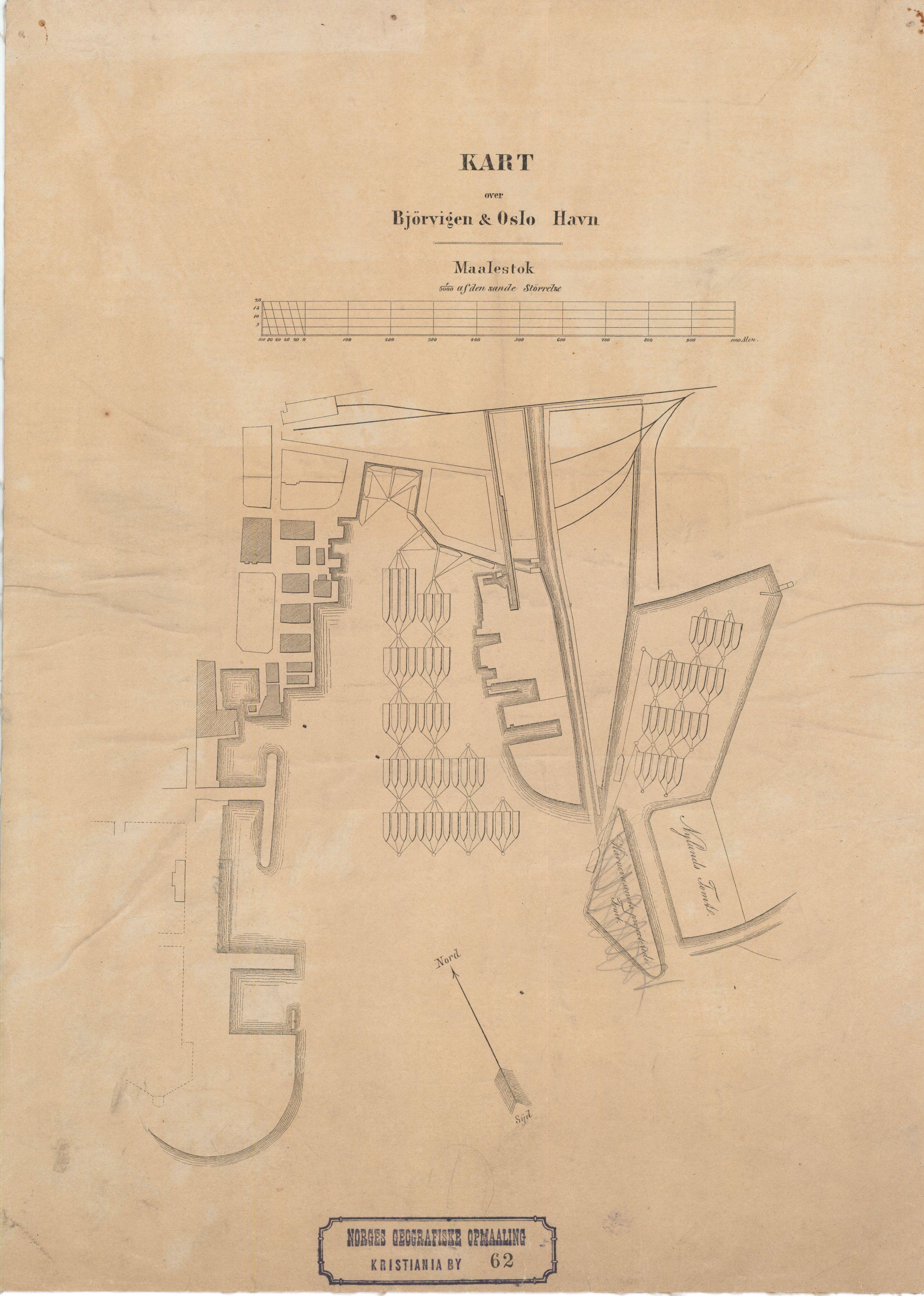 oslo havn kart File:Kart over Bjørvigen og Oslo Havn (62), 1870.   Wikimedia  oslo havn kart