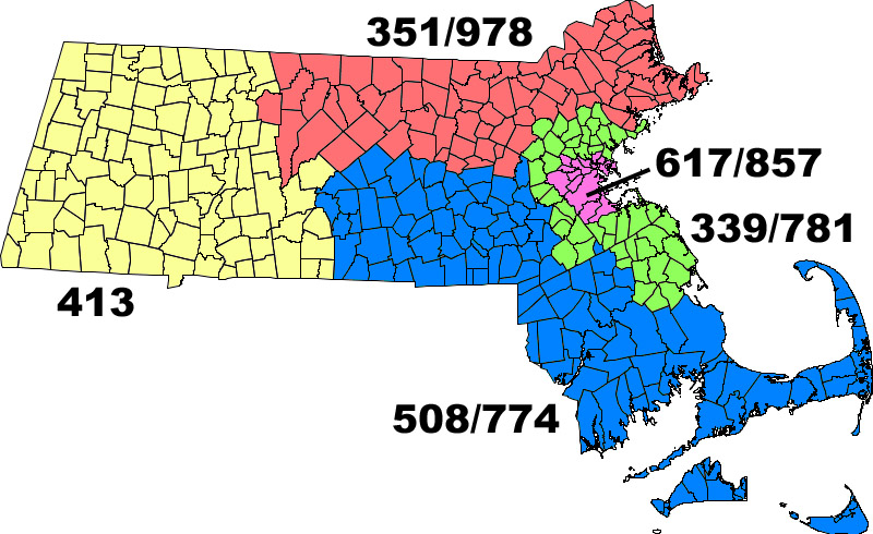Massachusetts area code map - WikiCommons