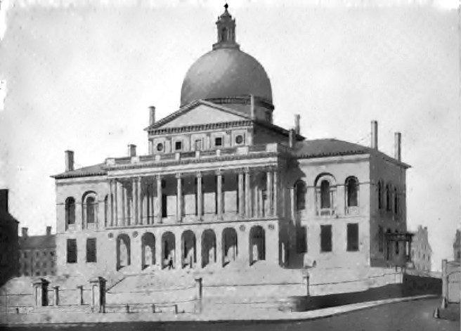1827 drawing of the Massachusetts State House by Alexander Jackson Davis