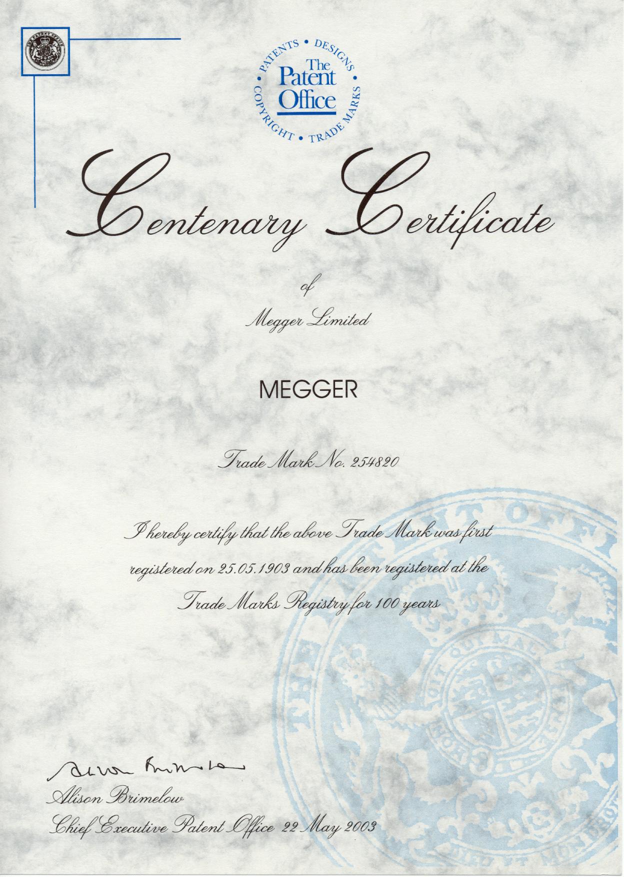 Dateimegger Centenary Certificate By Meggerg Wikipedia
