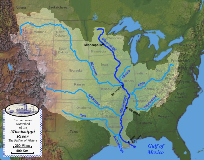 Mississippi River System Wikipedia - Map of the us mississippi river