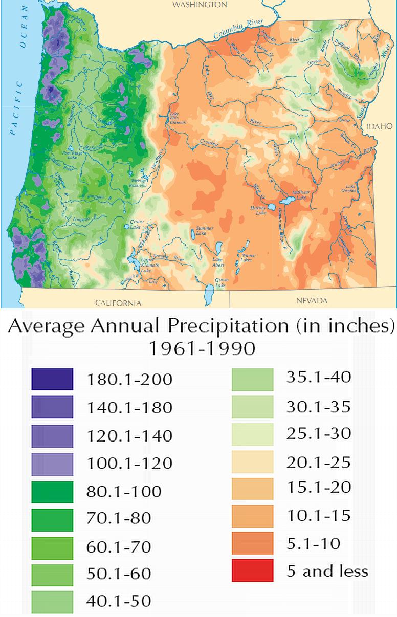FileOregon Average Annual Precipitation 19611990 Map