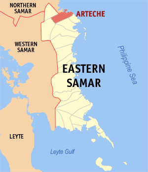 Map of Eastern Samar showing the location of Arteche