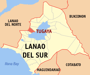 Map of Lanao del Sur showing the location of Tugaya