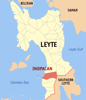 Map of Leyte showing the location of Inopacan