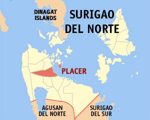 Map of Surigao del Norte showing the location of Placer