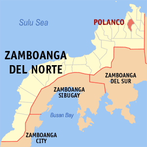 Map of Zamboanga del Norte showing the location of Polanco