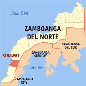 Map of Zamboanga del Norte showing the location of Sirawai
