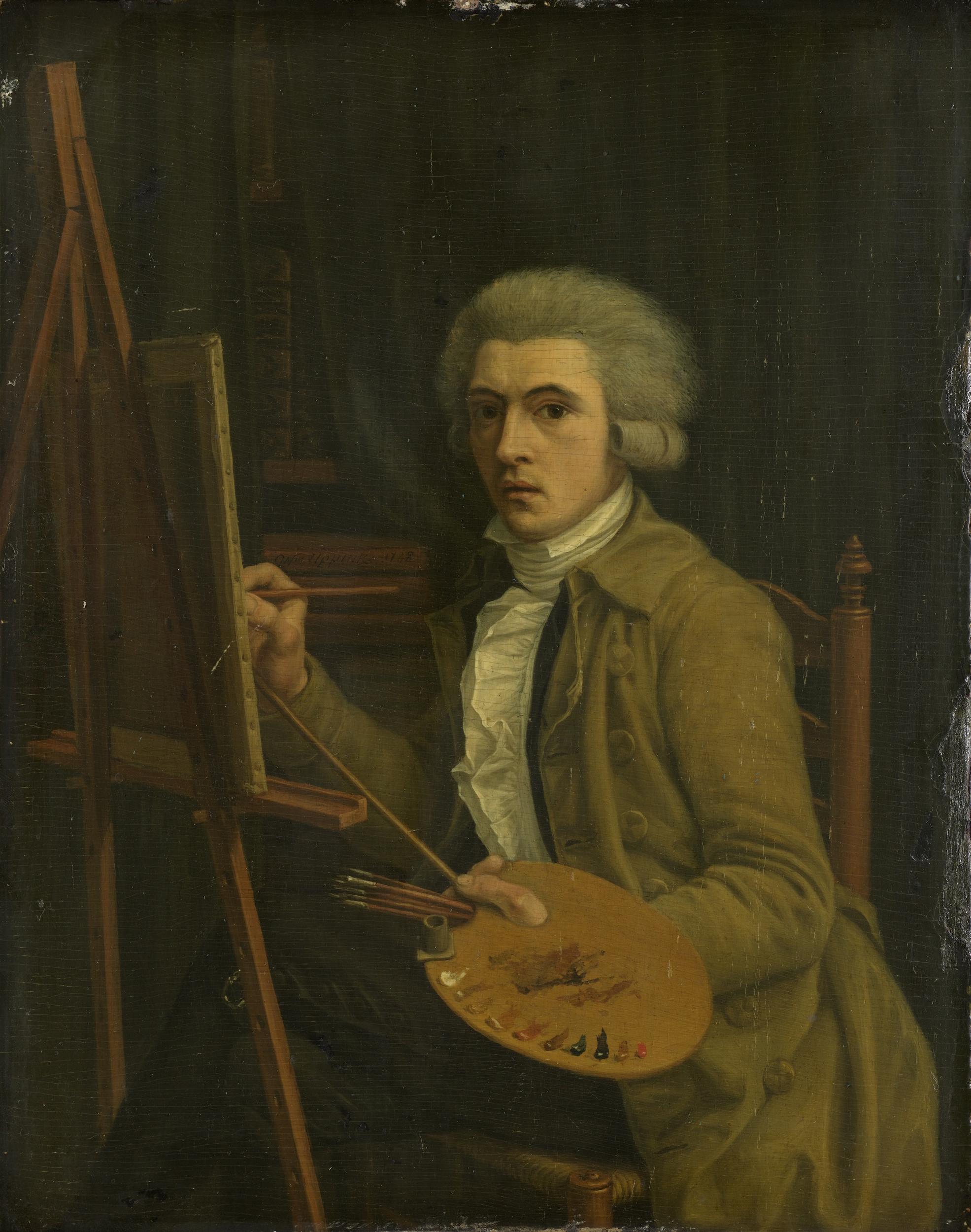 file portret van een schilder vermoedelijk de kunstenaar On uurloon van een schilder
