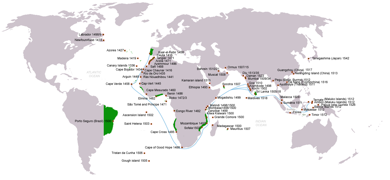 Portuguese discoveries and explorations from 1415 to 1543: first arrival places and dates; main Portuguese spice trade routes in the Indian Ocean (blue); territories of the Portuguese Empire under the rule of King John III (1521 1557) (green)