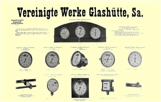 Werbeprospekt der Vereinigten Werke Glashütte (Firma Mühle) aus den 1920er Jahren