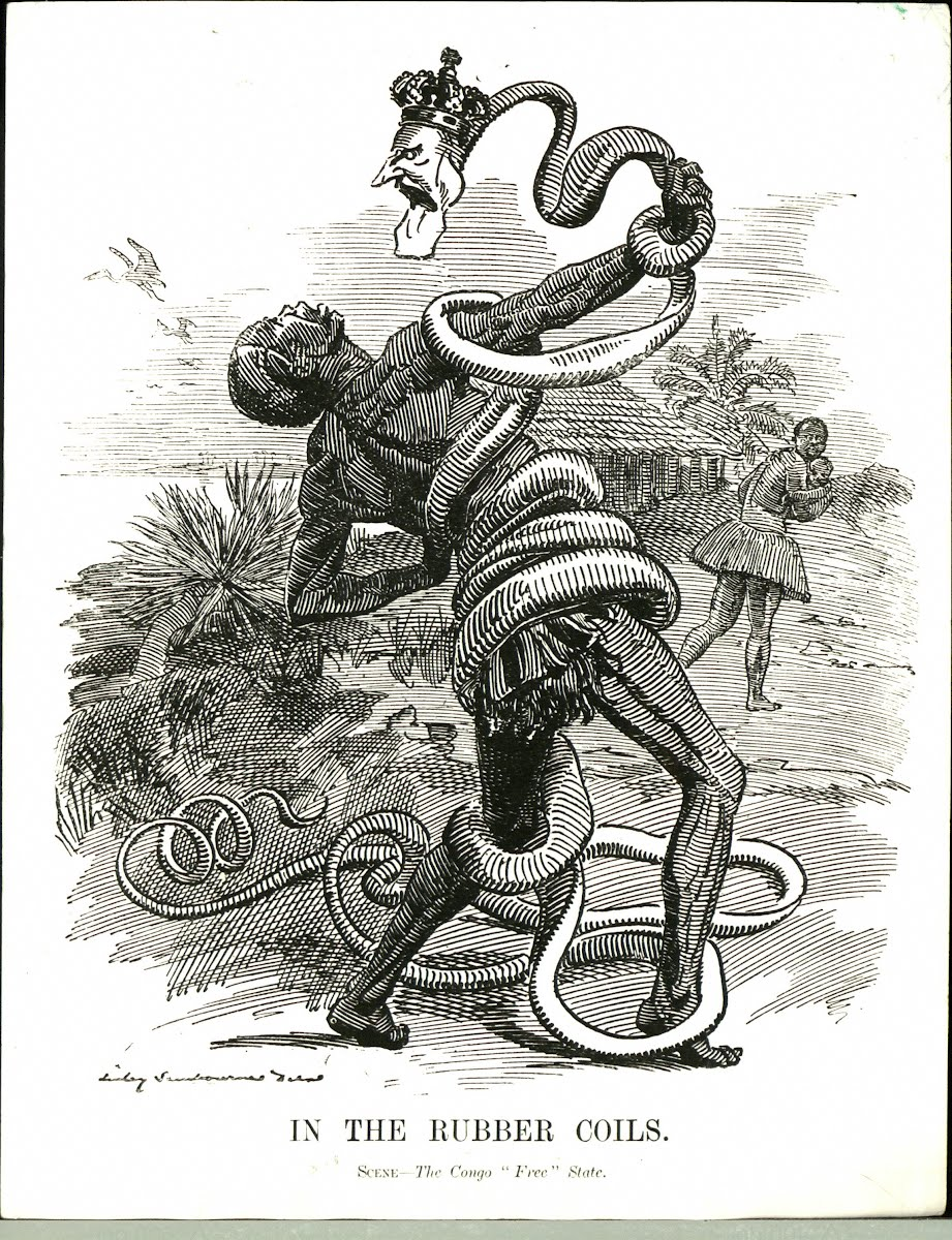 A 1906 Punch cartoon depicting Leopold II as a rubber snake entangling a Congolese rubber collector.