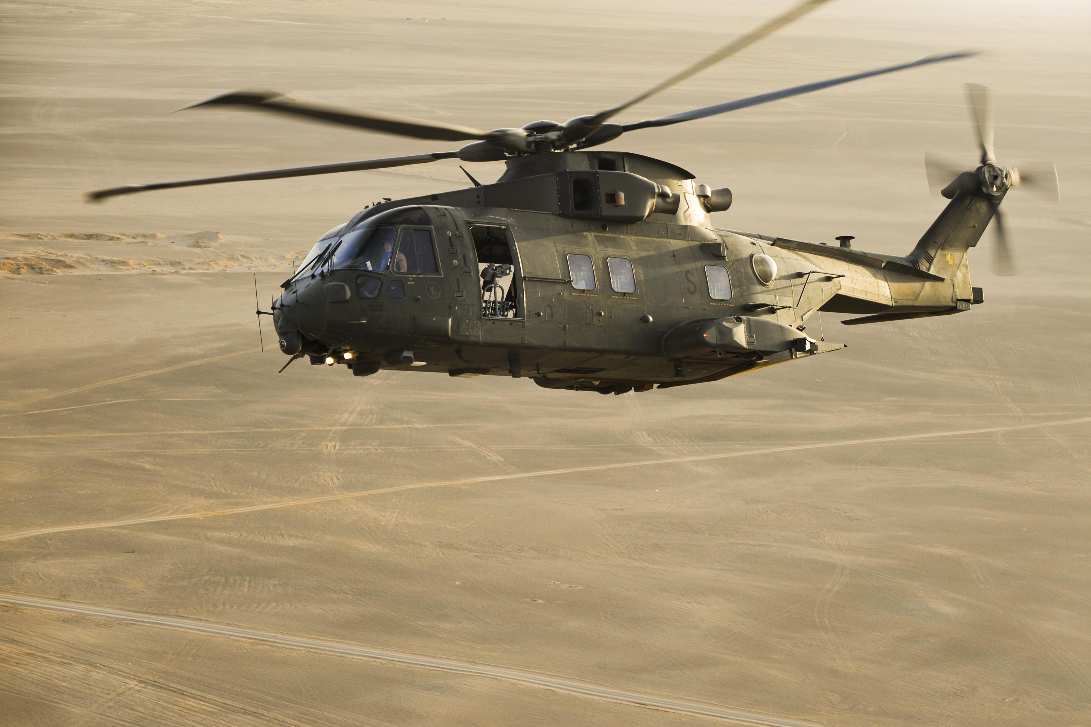 File:RAF Merlin Helicopter During Exercise Desert Vortex MOD