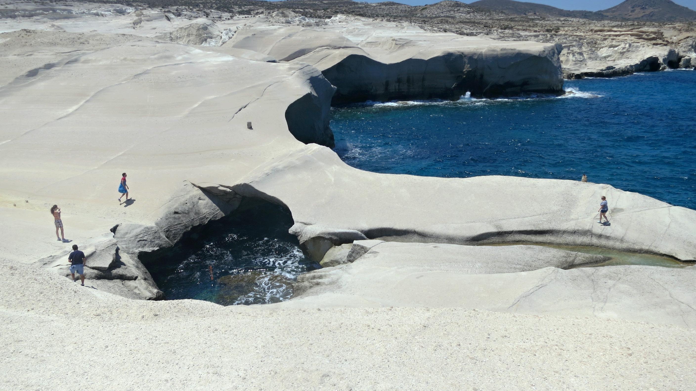 The rocky Sarakiniko beach in Milos