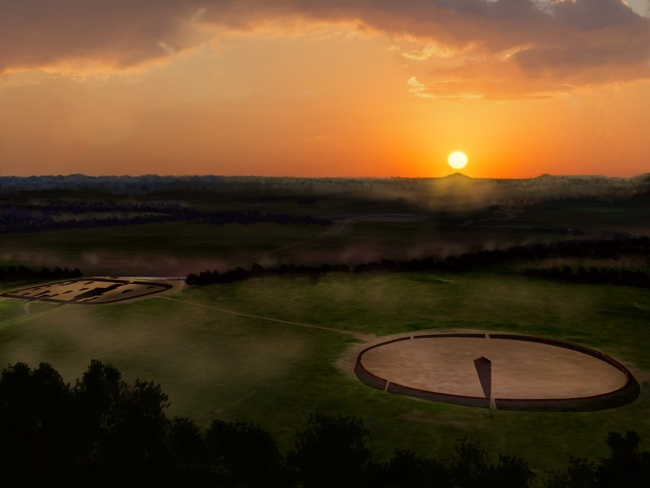 Artists conception of Ohio Hopewell culture Shriver Circle with the Mound City Group to the left Shriver Circle & Mound City solstice sunrise HRoe 2019sm.jpg