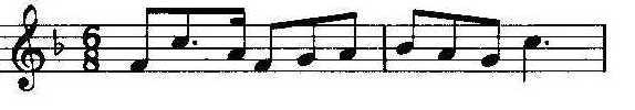 Leitmotiv asociado con el héroe de la ópera homónima, Sigfrido. Esta notación musical muestra un tema en fa y en un compás de 6/8 en clave de sol.