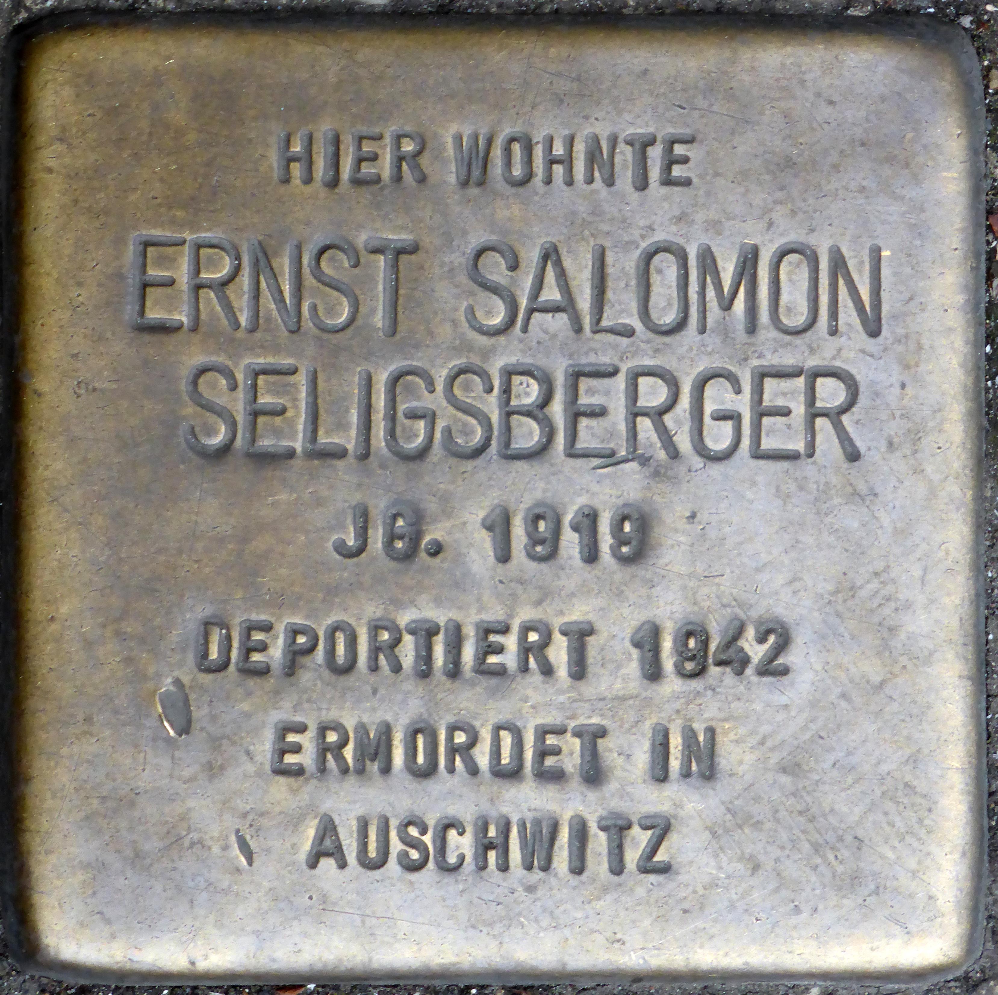 Datei:Stolpersteine Würzburg, Ernst Salomon Seligsberger